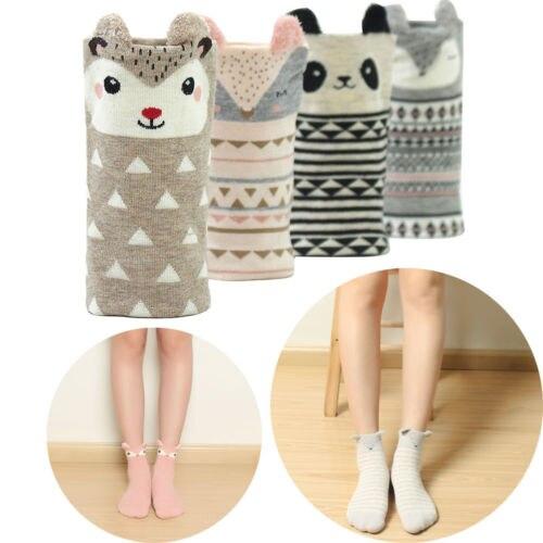Women Cotton  Socks Lady Casual Cute Animal Footprints Striped Cartoon Cotton Soft Socks