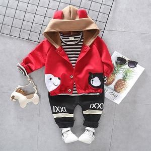 Image 3 - Children Girls Boys Cotton Clothing Spring Autumn Kid Cartoon Hooded Jacket Stripe T Shirt Pants 3Pcs/Set Fashion Baby Tracksuit