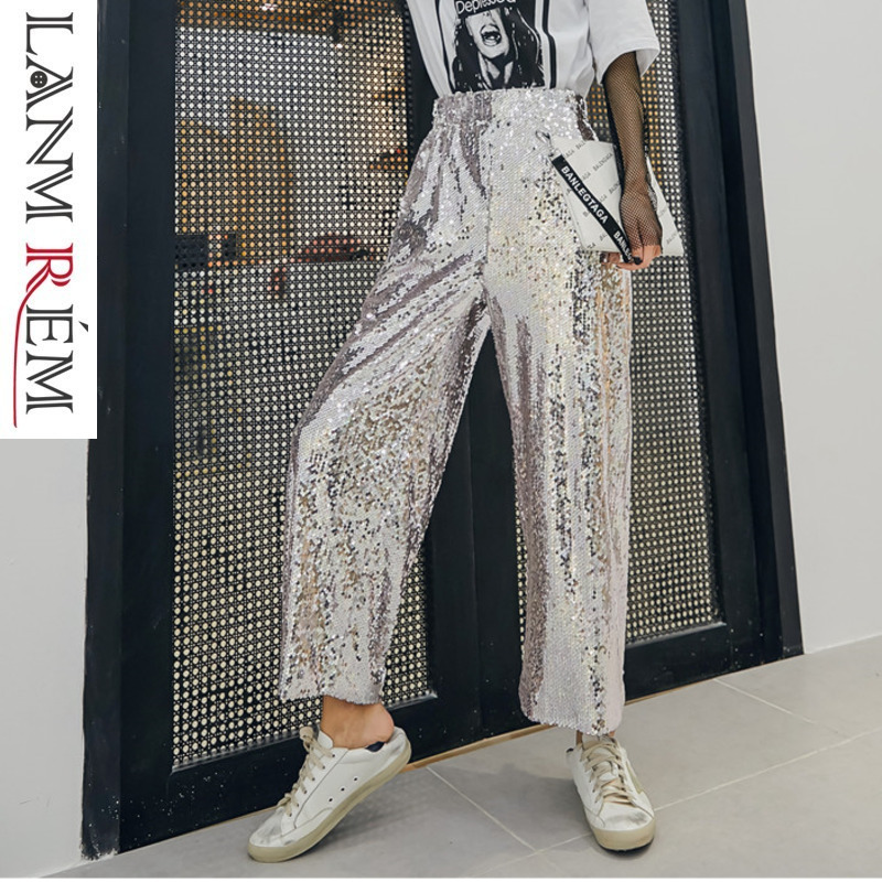 LANMREM Silver Sequins Ankle-length   Pants   Women New 2019 Spring Summer High Waist Loose   Wide     Leg     Pants   Casual Trousers YG63110