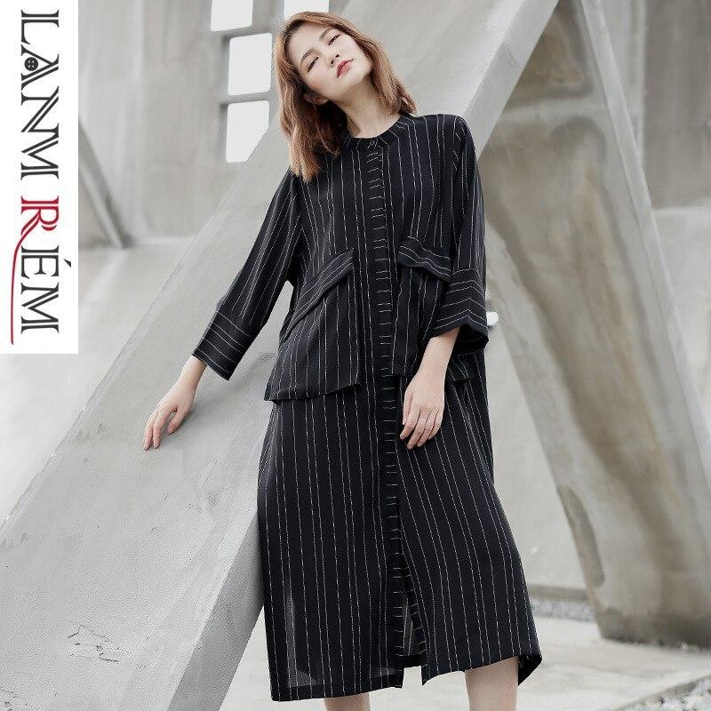 LANMREM 2019 Black Whtie Striped Patchwork Large Size Coat New Fashion Thin Type Pockets Female's Trench Vestido Fashion YG21701