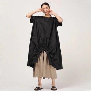 Image 2 - Женское Повседневное платье CHICEVER, однотонное свободное платье до середины икры с круглым вырезом, коротким рукавом, драпировкой и разрезом на подоле размера плюс, новинка 2020