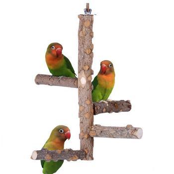 Pet Papagei V gel Stehen Stick Holz Vogel Klettern Leiter Sitzstangen Nymphensittich Sittich Klaue Schleifen Spielzeug
