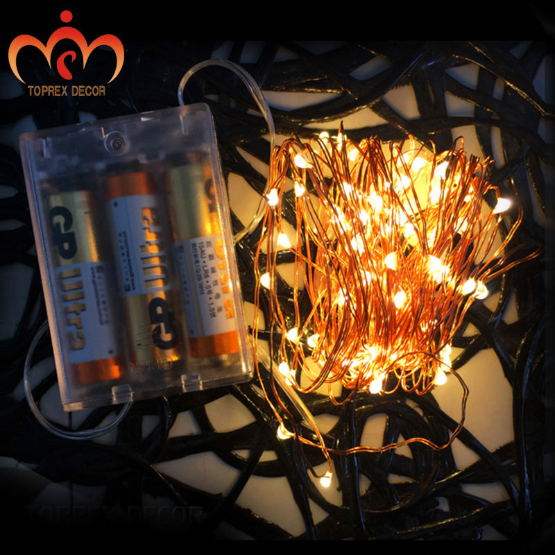 3m / 9,8 ft 30 LED 3AA elemes működtetésű LED réz lámpa húr - Üdülési világítás