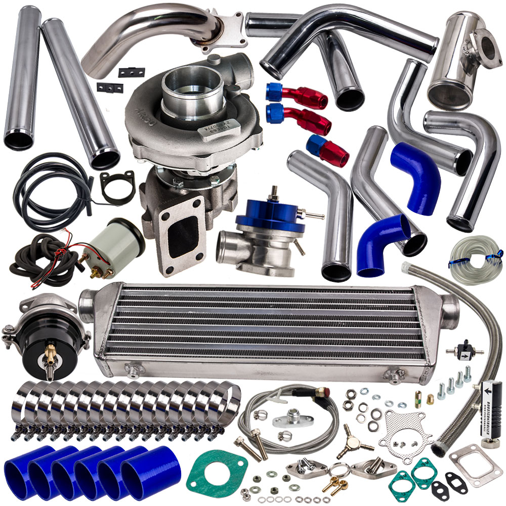 T3 T4 T3/T4 T04E Turbo Charger Kit+ WASTEGATE + INTERCOOLER+ PIPING AR .63 350HP Universal Turbo T3 flange pipe