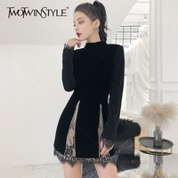 TWOTWINSTYLE Patchwork Lace Velvet Dresses Female Long Sleeve Backless Hollow Out Sexy Party Dress Women Autumn Fashion 2018