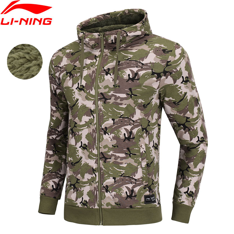 Li Ning Men The Trend Hoodie Warm Fleece 100 Cotton Regular Fit Zipper LiNing Sports Sweater