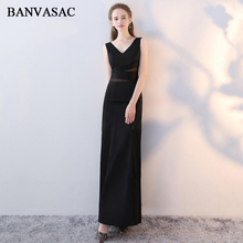 BANVASAC 2019 Deep V Neck Sexy Split Satin Mermaid Long Evening Dresses Party Lace Hollow Out Backless Prom Gowns