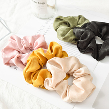 Women Pure Color Satin Hair Scrunchies Ring Elastic Bands Rope Ties Ponytail High Quality Headwear