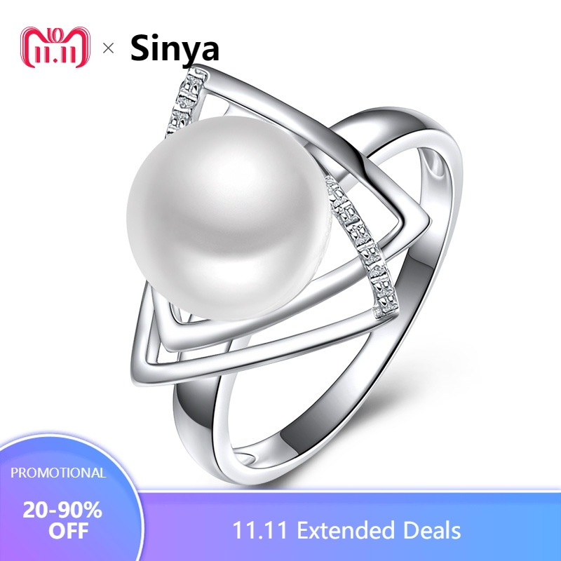 Sinya 925 sterling silver Ring with 9-10mm natural freshwater pearl Fine Jewelry wedding brand Engagement ring for women lover brand white shell crystal star chain ring 925 sterling silver pearl shell rose compass cuff ring women wedding vents jewelry