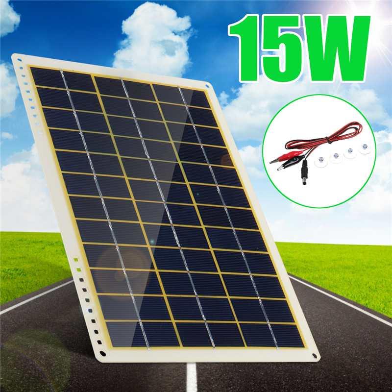 Солнечная панель New15W 12 В, поликристаллическая солнечная панель с линейным зажимом, 4X присоски для наружного кемпинга, аварийный светильник,...