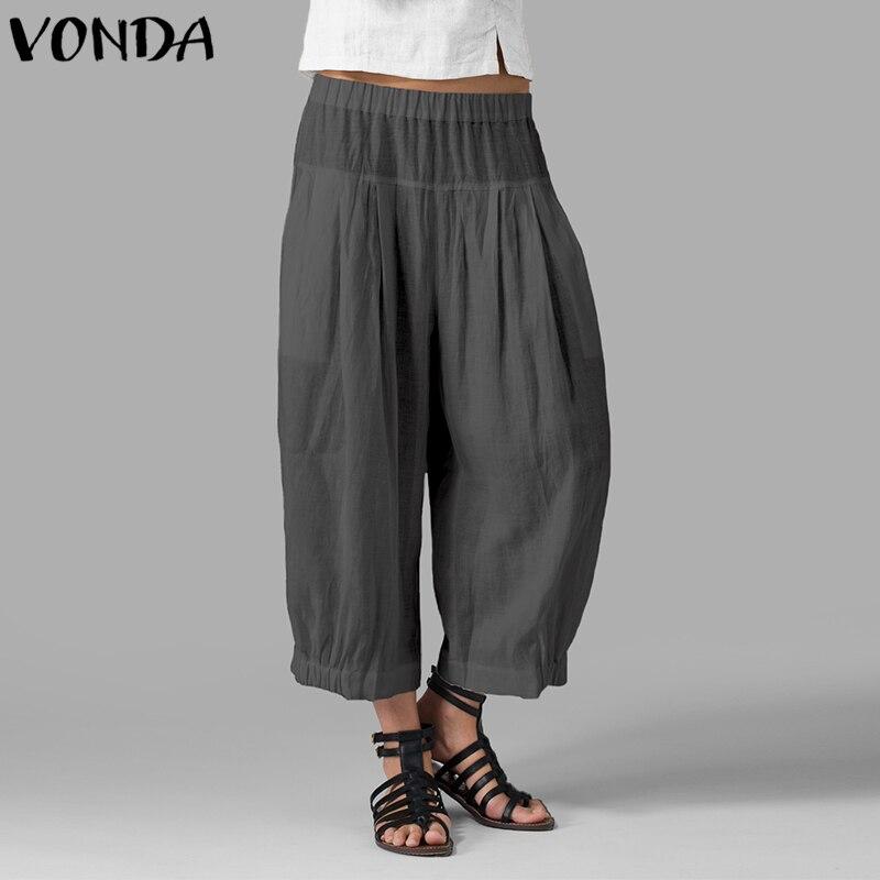 Autumn Women   Wide     Leg     Pants   2019 Casual High Waist Harem   Pants   Casual Loose Solid Trousers Plus Size Vintage Bottoms 5XL