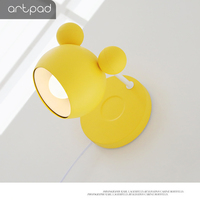 Artpad Korea Mordern Lovely Cartoon Mickey Children Room Wall Light Dimmable Night Lighting Wall Lamp With Pull Switch And Bulb