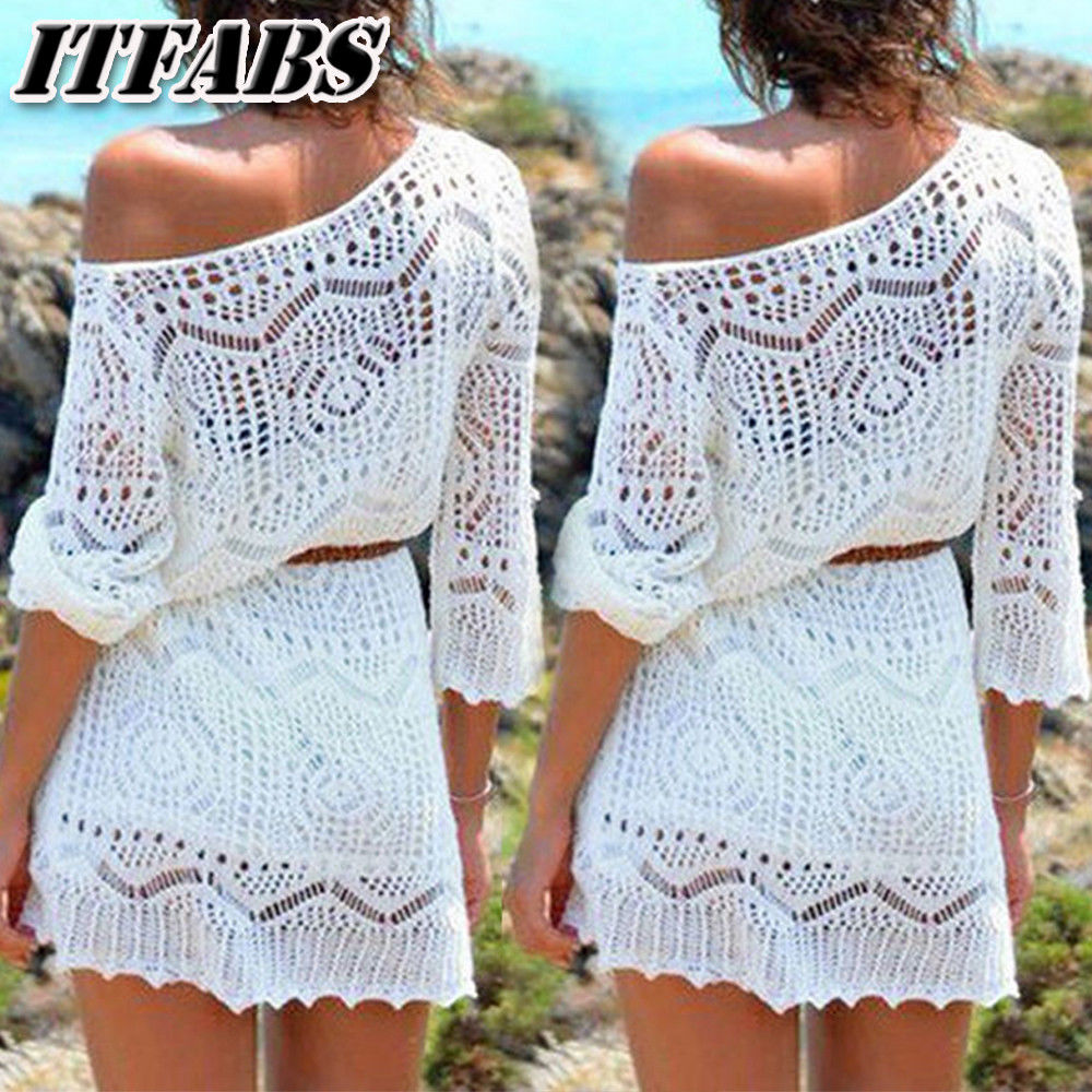 Sunscreen Blouse Women Summer Hollow Out Beach Wear Bikini Cover Up Dress Lace Ladies Crochet Mini Sun Dress