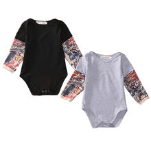 Newborn Toddler Kids Baby Boy Cotton Tattoo Printing Long Sleeve Jumpsuit Bodysuit Clothes Outfits