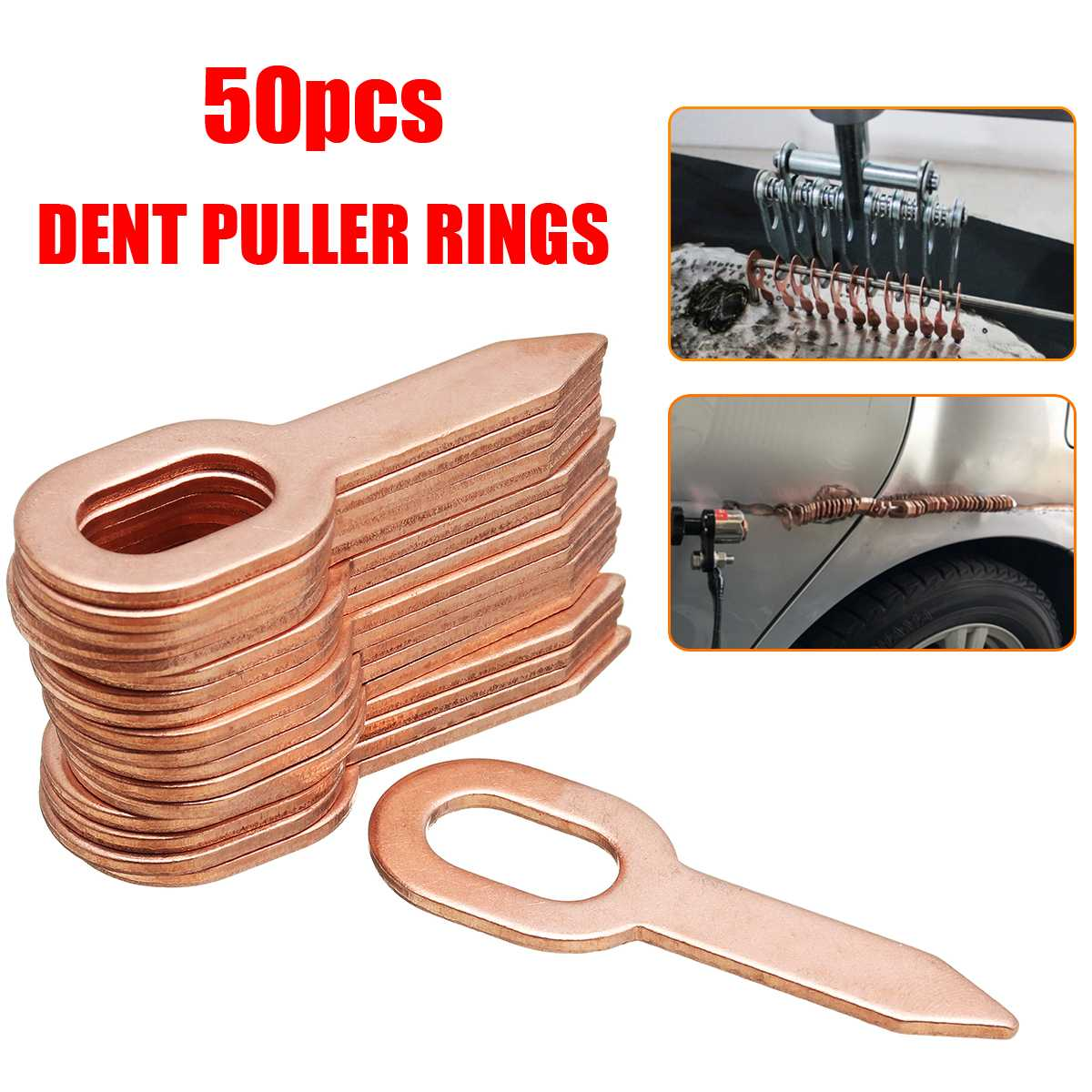 50pcs Copper Plated Oval Dent Puller Rings Car Body Paintless Dent Lifter Repair Tool Puller Kit Dent Removal Washer Tool