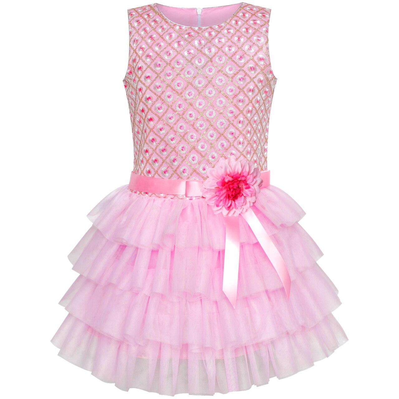 Girls Dress Ruffle Pink Flower Birthday Party 2019 Summer Princess Wedding Dresses Children Clothes Pageant Sundress