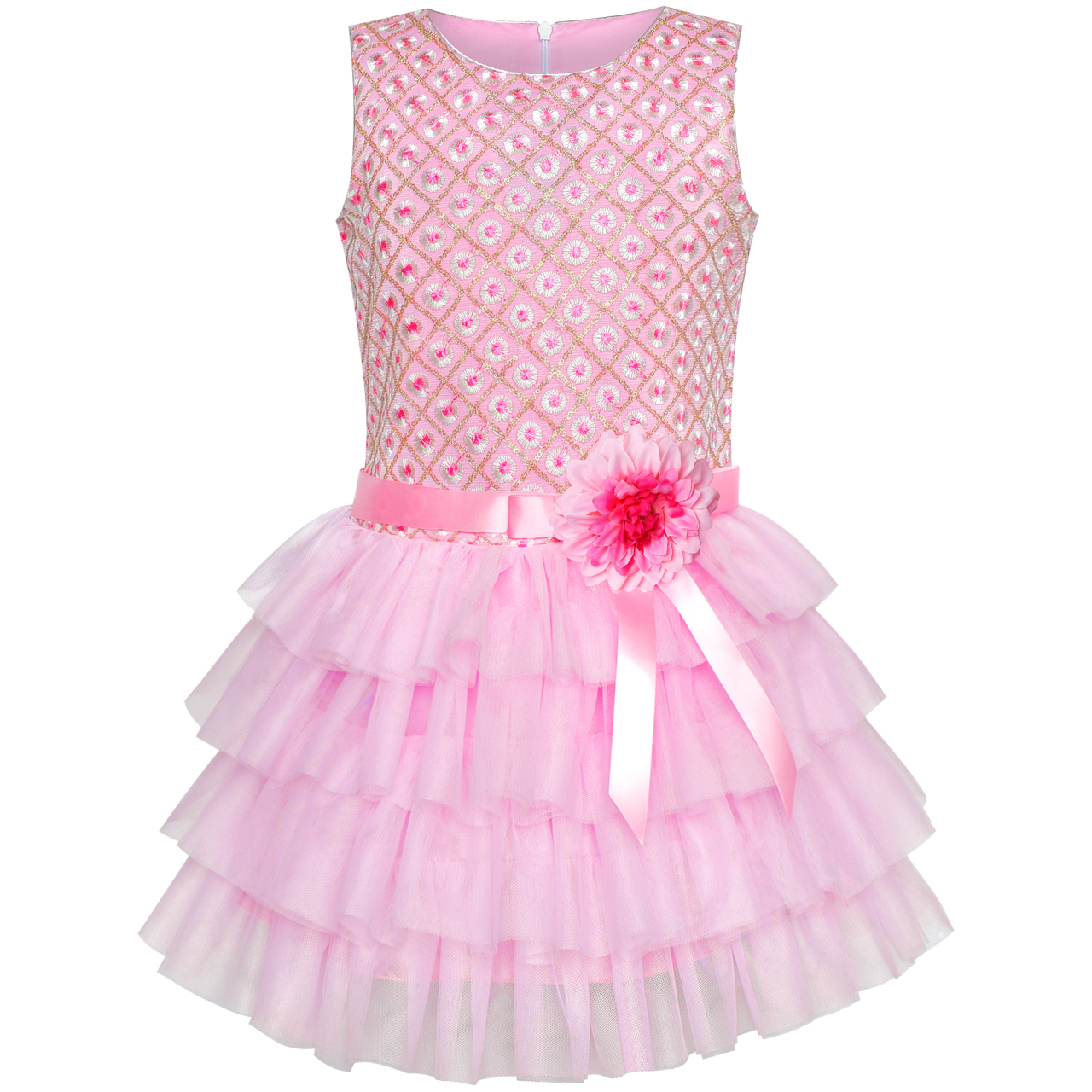 Girls Dress Ruffle Pink Flower Birthday Party 2019 Summer Princess Wedding Dresses Children Clothes Pageant Sundress brwcf flower girls dress for party wedding birthday 2017 summer princess dresses leopard printing children clothes 2 8years