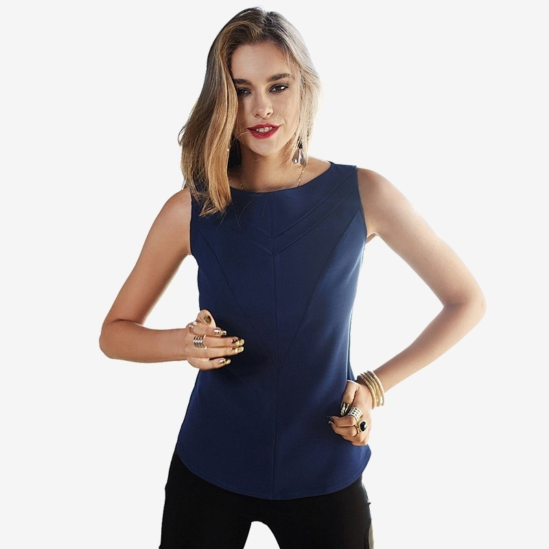 Blouse C.H.I.C female CHIC navy blouse with self tie