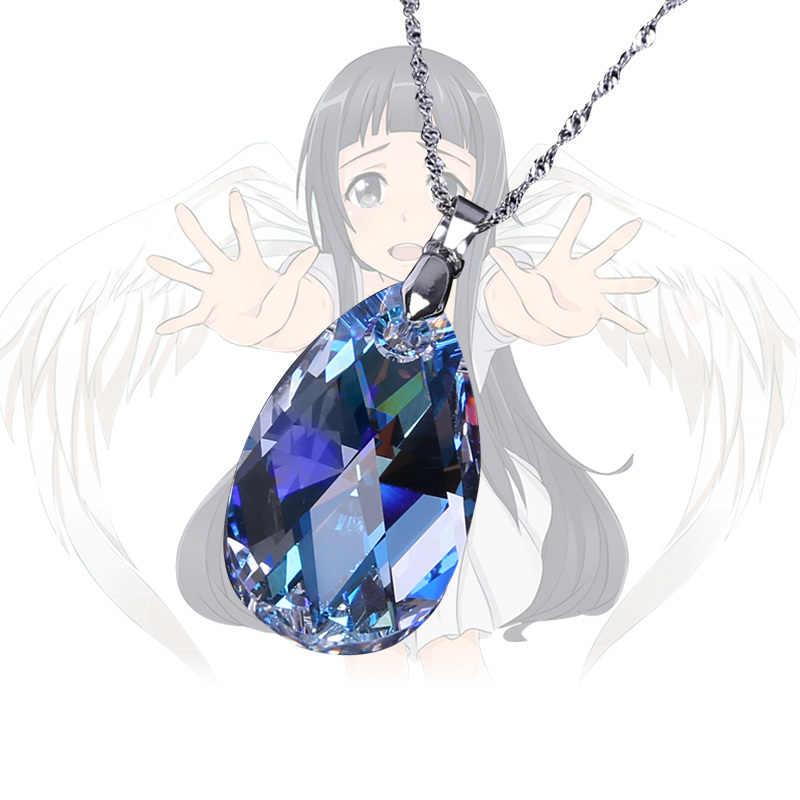 2018 Anime Sao Sword Art Online Kirito Asuna Mavi Kristal Film ve Tv Modeli Kolye Metal Zincir Ile Figürleri Oyuncak toplama