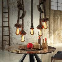 Modern Retro Hemp Loft Chandeliers Led Lamps European Personality Diy Decoration Led Chandelier E27 Led Lustre Light Chandelier