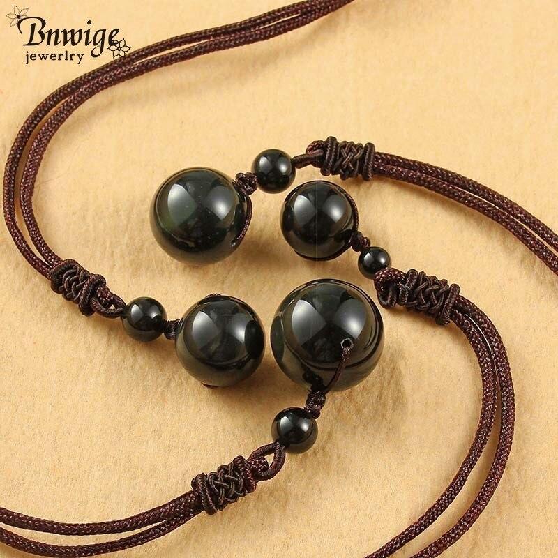 Bnwige Schwarz Obsidian Anhänger Liebhaber Halskette Natürliche Schwarz Yao Stein Transport Perle Kristall Regenbogen Auge Halskette Für Männer Frauen