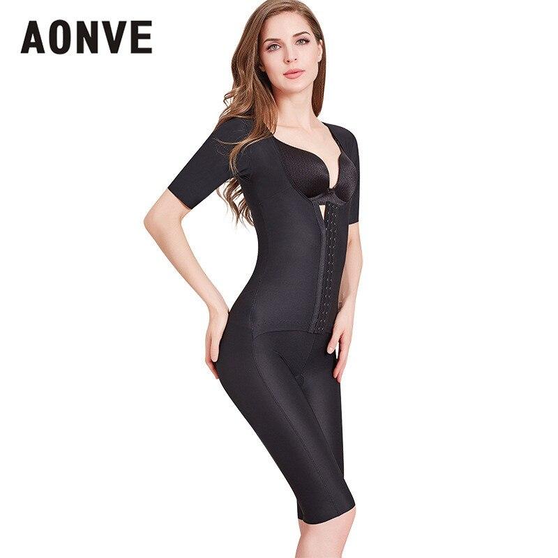 Aonve Waist Trainer Shapewear Tummy Slimming Faja Bodysuit Short Sleeve Arm Shaper Butt Lifting Open Crotch Body Shaper