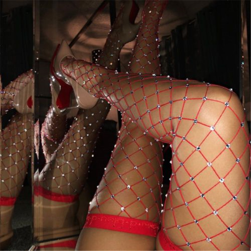 2018 Women Crystal Rhinestone Stockings Black White Red BIG Fishnet Net Mesh Diamond Pantyhose Stockings Tights Pantyhose