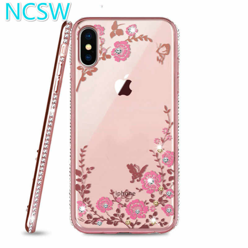 Rhinestone Flower Pattern Case For iPhone XS MAX XR 8 8Plus 7 7Plus 6 6S Plus 5 5S SE Soft Silicone Glitter Diamond Frame Case