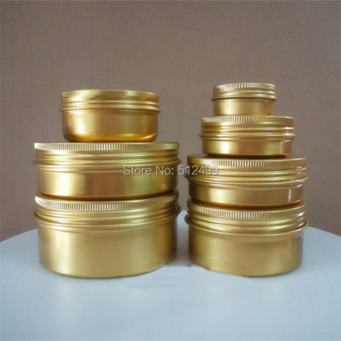 30/50/60/80/100/150g ML Refillable Box Gold Empty Round Aluminum Metal Tin Cans Cosmetic Cream DIY Jar Tea Gold Aluminum Pot