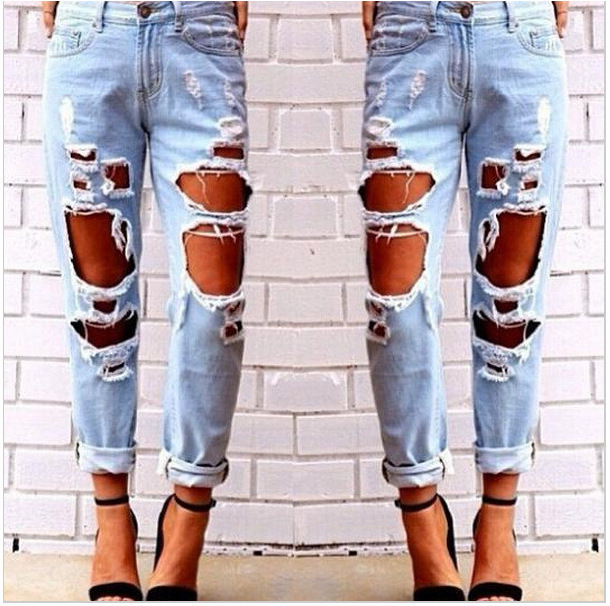 2018 Wild Sexy Hyperbole Big Hole Grab The Beggar Boyfried Jeans Ripped Holes Harem Jeans Woman Denim Pants Plus Size O8R2