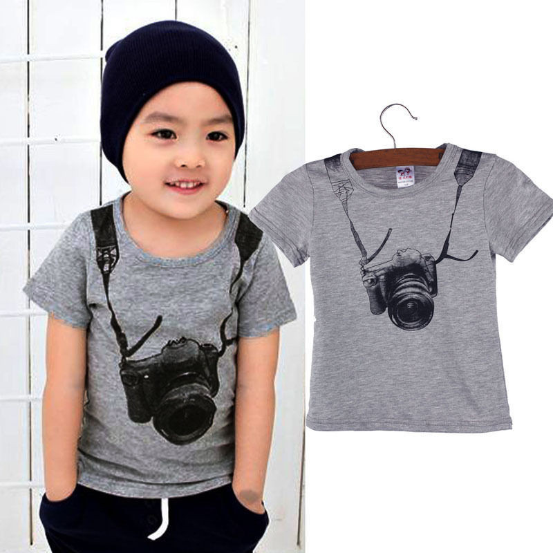 Summer Children Boy Short Sleeve T-shirt Camera Printed Kids Cotton Tops Toddler O-Neck Casual Tee Tops Aged 1-6 Years
