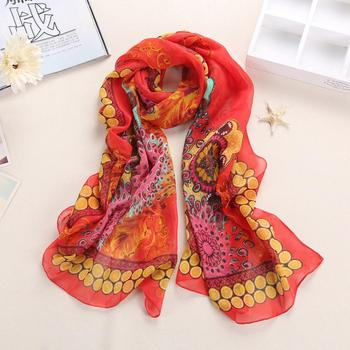 Square Hair only Style Satin Women Seasons Hand Feeling Prints wash New Scarf Fashion Large Chiffon Retro All