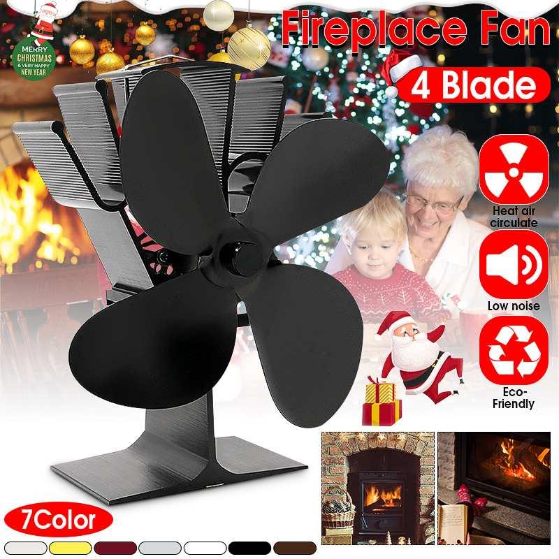 4 Blade Black Fireplace Heat Powered Stove Fan Home Efficient Heat Distribution Komin Log Wood Burner Friendly Quiet Fan