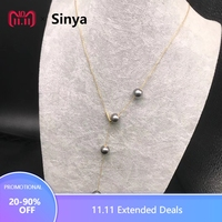 Sinya Trendy 18k gold AU750 Chain necklace with 8 9mm Natural Tahitian pearls V style design choker for women girls lover Mum