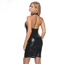 MUXU sexy black PU leather dress patchwork bandage jurken fashion bodycon kleider vestidos elbise backless sukienka clothes