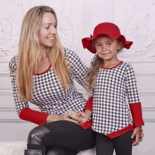 Mother Daughter Matching Clothes Plaid Long Sleeve Blouse Pullover Family Matching Tops Casual Autumn Clothing