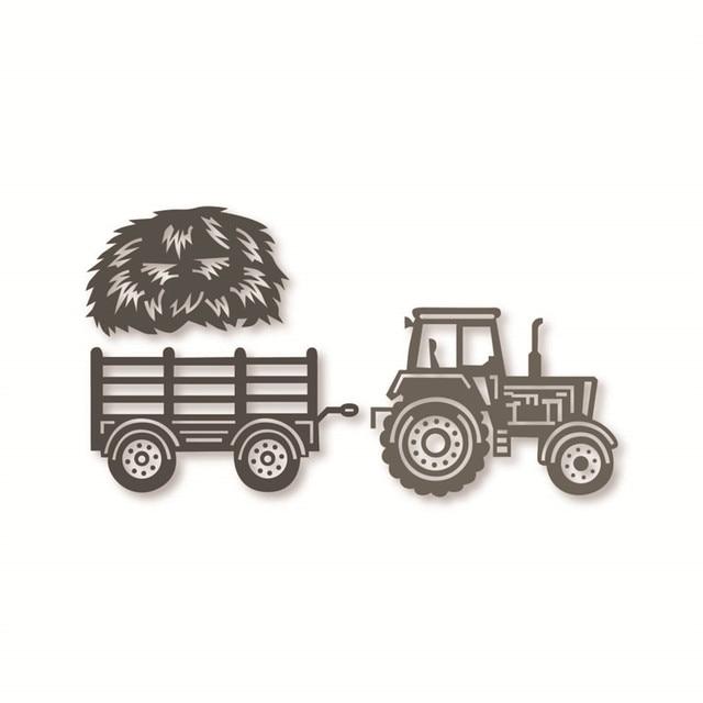 Ufurty Traktor Petani Jerami Metal Cutting Dies Stensil Diy Scrapbooking Embossing Kartu Kertas Mati Pemotongan Album Foto Membuat Kerajinan