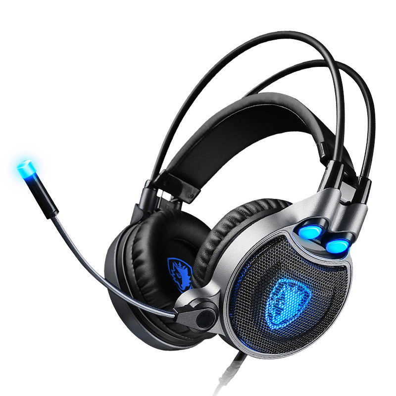 Hot AMS-Sades R1 Usb 7.1 Surround Stereo Sound Vibration Gaming Headphone With Microphone Led Light Pc Gamer Gaming Headset Fo