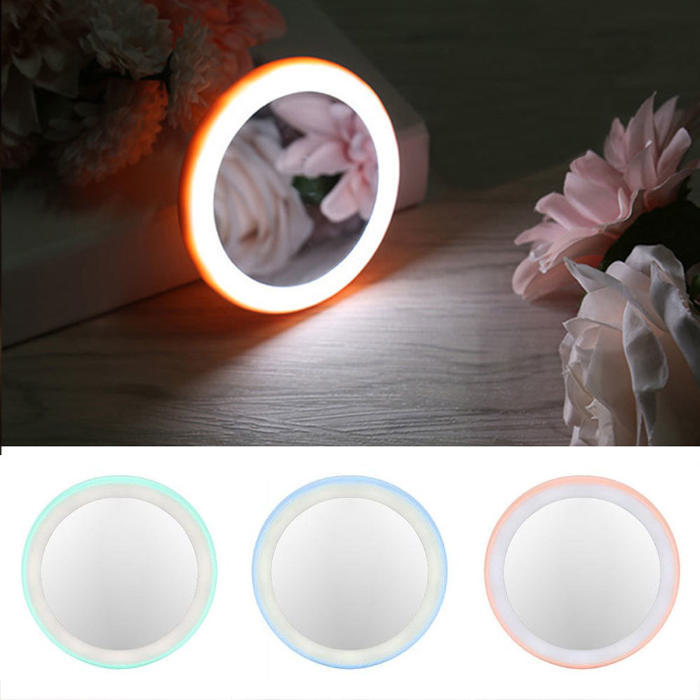 1Pcs Portable LED Cosmetic Lighted Mini Makeup Mirror Compact Travel Portable Lighting Makeup Mirror in Makeup Mirrors from Beauty Health