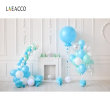 Laeacco Baby Birthday Party Blue Balloons Backdrop Photography Backgrounds Customized Photographic For Photo Studio