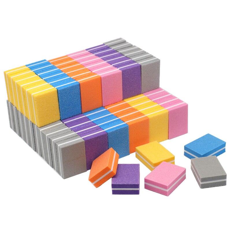 20pcs/lot Mini Nail File Buffer Sponge Nail Polishing Blocks Colorful Small Portable Files lima Nail Polisher Manicure Tools