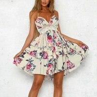 Girl Backless Lace Summer Dress Spaghetti Strap Boho Women Dress Floral Beach Dress Vestidos