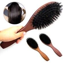 Escova de cabelo natural de cerdas de corvo, pente massageador antiestático para cabelos, couro cabeludo, escova de remo, cabo de madeira, ferramenta de estilo de escova