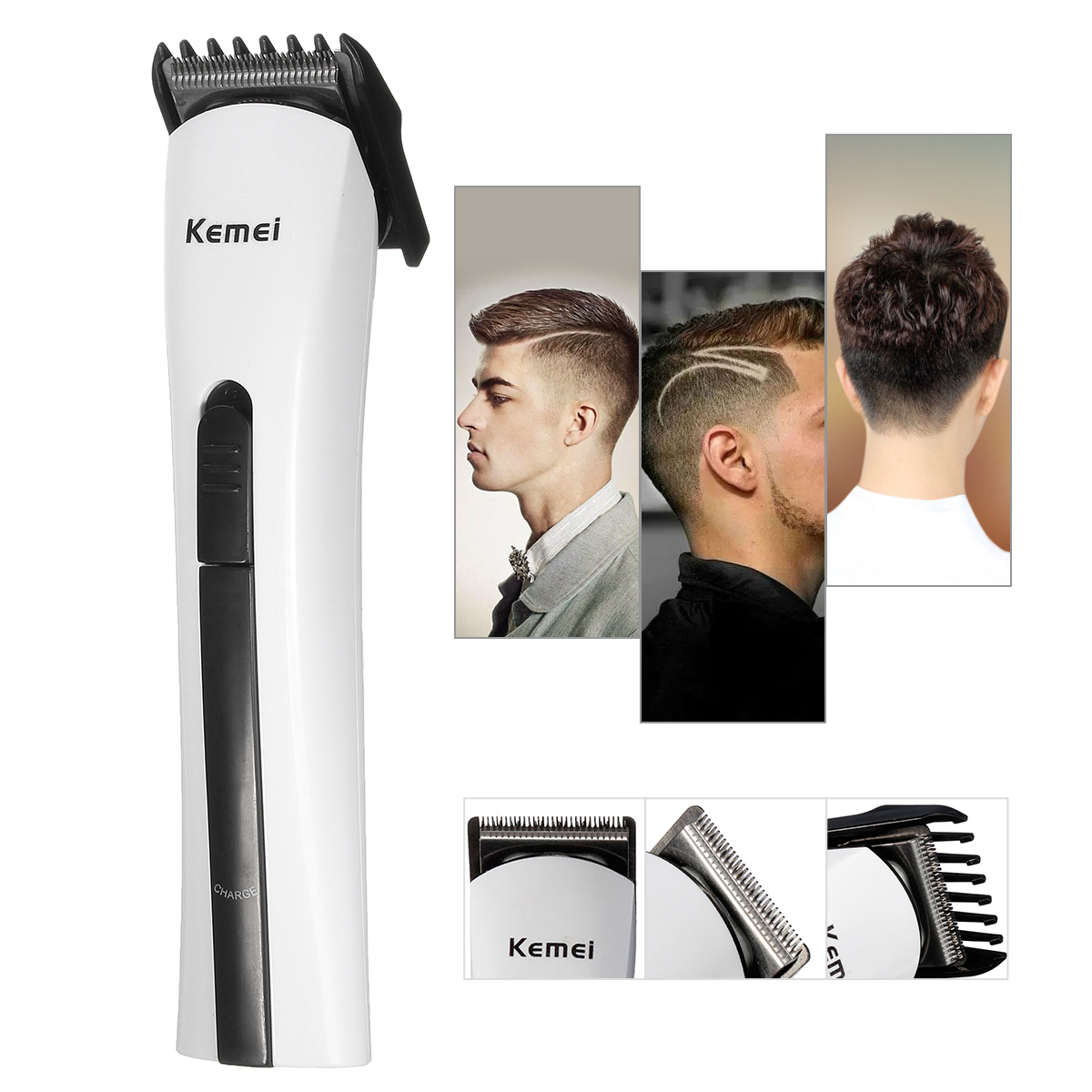 Kemei AC220-240V Hair Trimmer Professional Hair Clipper Men Cordless Rechargeable Barber Scissors Razor GT-001 Haircut Machine