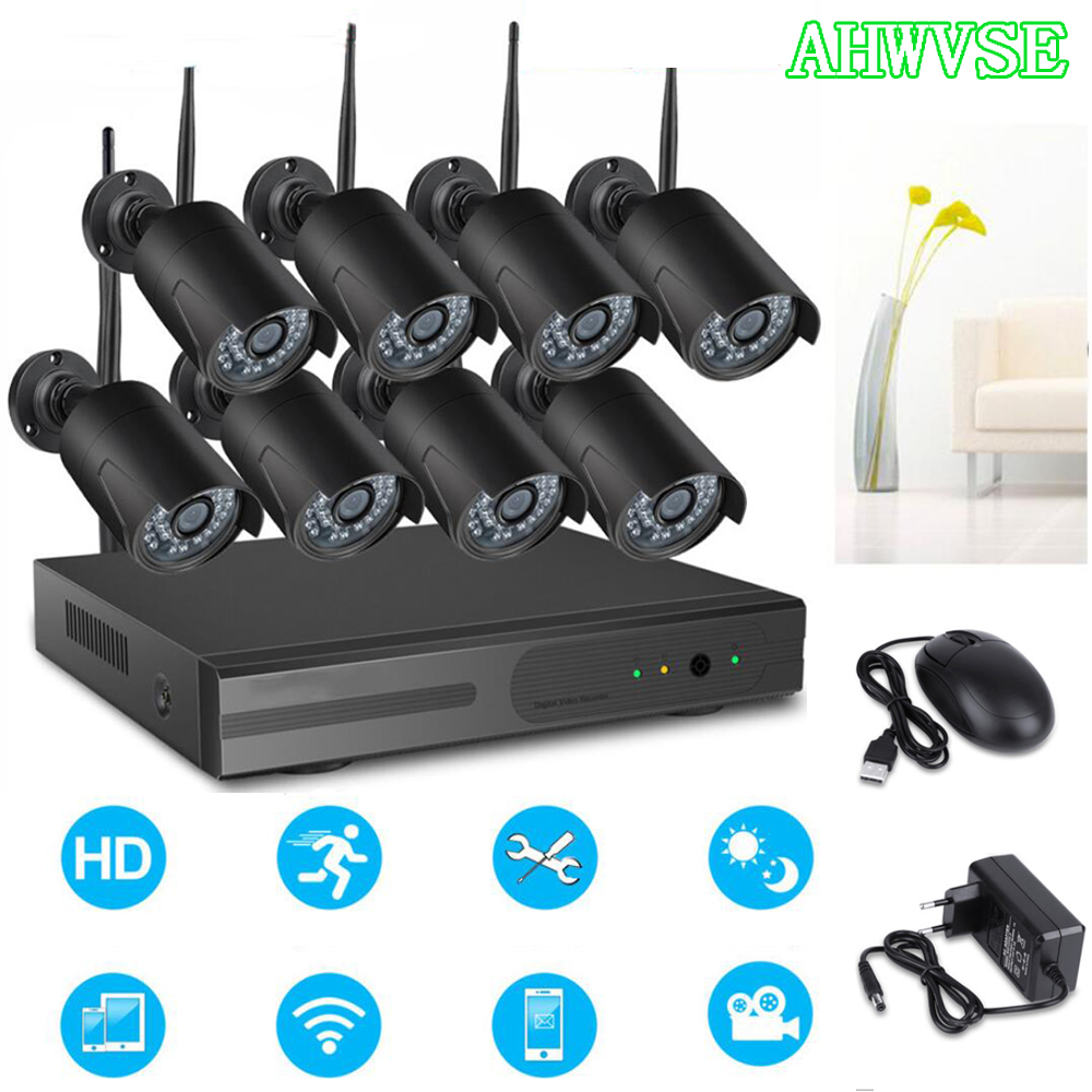 2MP 1080P CCTV System 8ch HD Wireless NVR kit 2TB HDD Outdoor IR Night Vision IP Wifi Camera Security System Surveillance