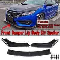 Carbon Fiber Look / Black 3pcs Car Front Lower Bumper Lip Spoiler Body Kit For Honda For Civic Sedan 4Dr 2016 2017 2018