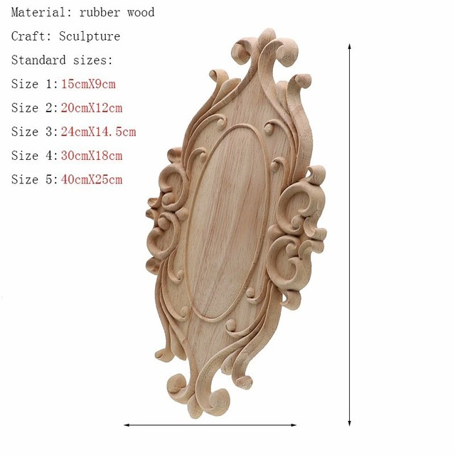 RUNBAZEF Solid Wood Furniture Decorative Accessories New Flower Carved Door Vintage Home Decor Figurines Miniatures Ornaments 2