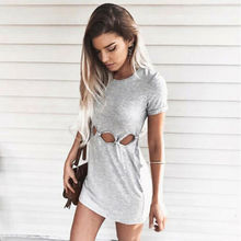Summer Dresses 2019 New Women Casual Short Sleeve O-Neck Hollow Out Solid Mini Dress Size S-2XL