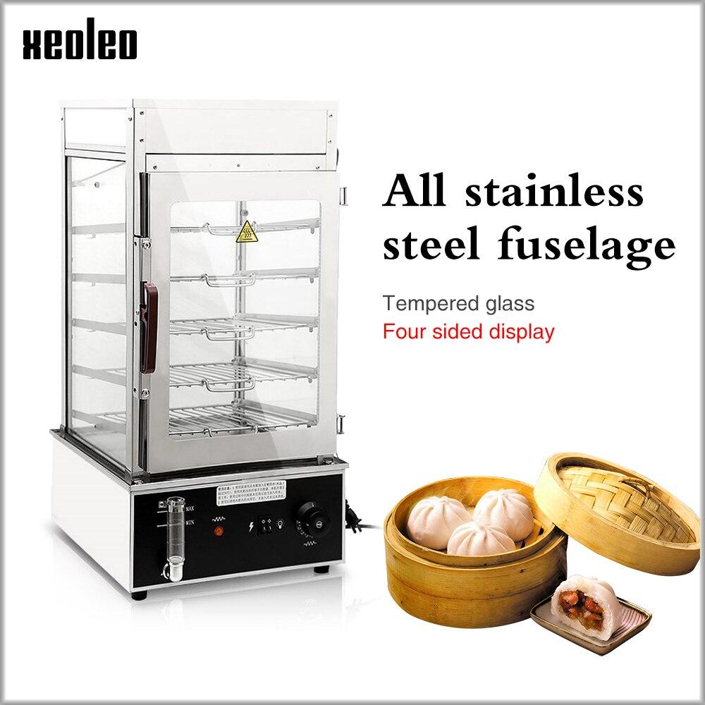 XEOLEO Elétrica Food Steamer Comercial armário de Comida quente de aço Inoxidável máquina de Pão Vapor máquina a vapor de Alimentos 1200 W 110 degre