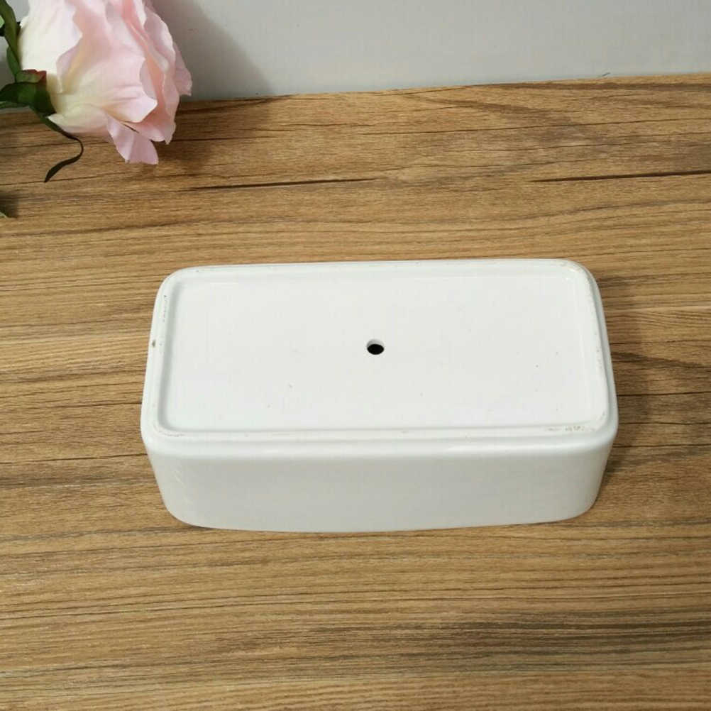装飾ミニ白長方形 Sucuulent 植木鉢白サボテン植木鉢木製トレイ